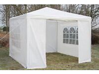 BRAND NEW | 3m x 3m White Gazebo w. side panels & wind bar | 40% OFF RRP