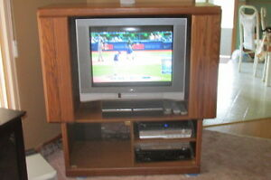 Oak tv stand mostly real wood