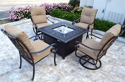 Patio Fire Pit 5 Piece Chat Set Propane table outdoor Santa Anita Swivels Chairs ()