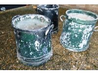 Old Milk Urn style metal pots for garden plants x 3 - £20 for the three ! - Just need painting