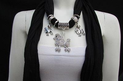 Bling Damen Mode Halskette Stoff Schal Groß Pudel - Rosa Pudel Schal