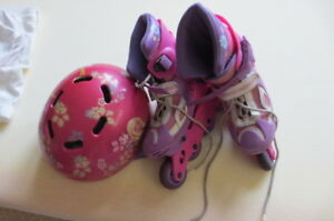 GIRL'S  EXPANDABLE INLINE SKATES and  BARBIE  HELMET