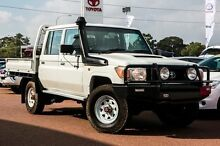 2013 Toyota Landcruiser VDJ79R MY13 Workmate Double Cab White 5 Speed Manual Cab Chassis Wangara Wanneroo Area Preview