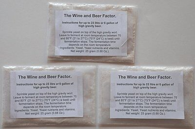 3 packages of turbo yeast for high gravity beers 25 gram (0.88 Oz.) each - High Gravity Beer