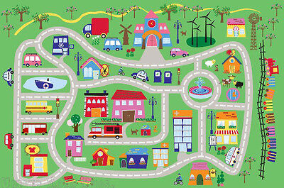 """3x5  Area Rug Kids Play Road  Street City Country Map Fun Driving New 3'3'x4'10"""""""