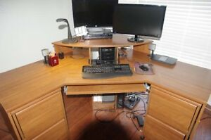 Corner Desk with Two Rolling File Letter Size cabinets