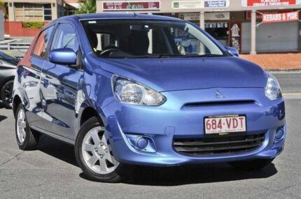 2013 Mitsubishi Mirage LA MY14 ES Blue 5 Speed Manual Hatchback Mount Gravatt Brisbane South East Preview