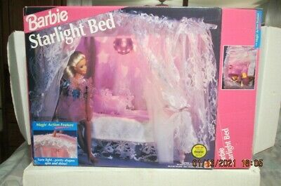 BARBIE STARLIGHT BED  LIGHTED PINK RARE 1992 MATTEL CANOPY ADORABLE