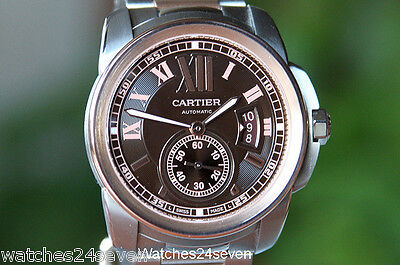 Cartier Calibre De Cartier Chocolate Dial 18K Rose Gold & Steel W7100050