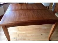 Large square dining table 130cm x 130cm extends to seat 12