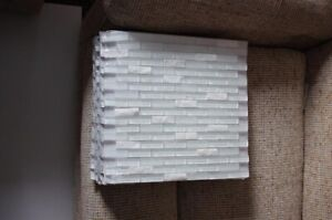 White stone and glass Mosaic Tiles