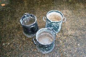 Milk Urn - style metal pots for garden plants x 3