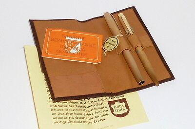 Alter Füller Füllfederhalter Füllschreiber Schreibset 24 Karat Gold Kulli Etui