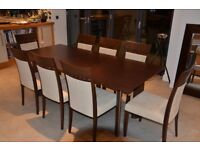 TONON DESIGNER DINNING TABLE WITH 8 X CHAIRS, CHOCOLATE BROWN CHERRY WOOD AND ALCANTARA UPHOLSTERY