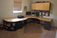 Custom L-Shape desk with wall mount cupboards - Made in Canada