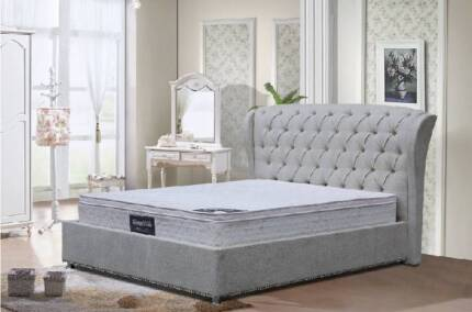 QUEEN FABRIC BUTTON BED FRAME (NEW ARRIVAL)