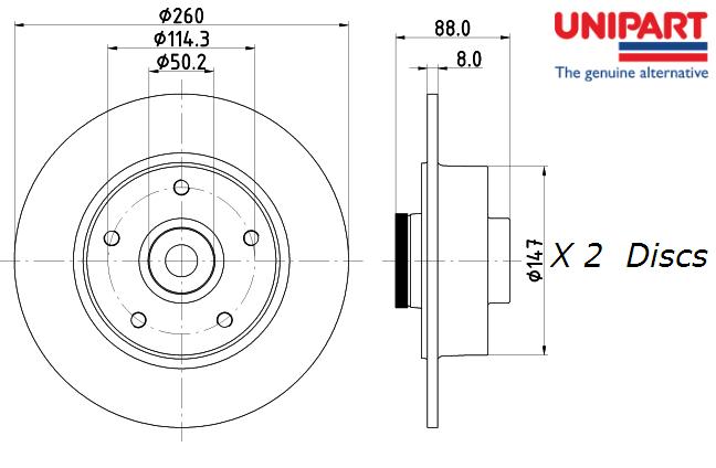 2 REAR AXLE BRAKE DISC RENAULT FLUENCE MEGANE CC III 1.6 1.5 0.0 2.0 1.2 1.4 1.9