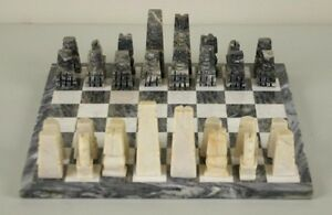 Hand Carved Marble Chess Set w/Onyx Board Pieces