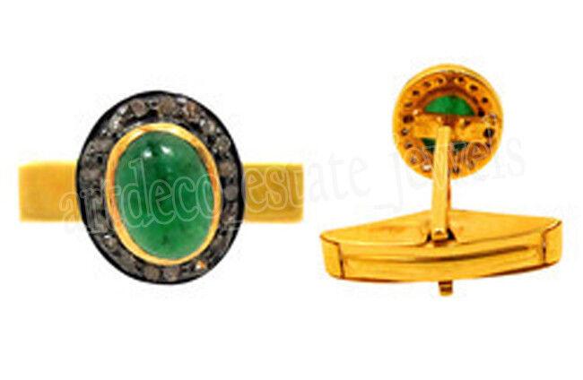 1.80cts ROSE CUT DIAMOND EMERALD ANTIQUE VICTORIAN LOOK 925 SILVER CUFFLINK