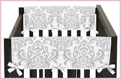 Crib Wrap Rail Guard (Damask Baby Boy Girl 2P Gray White  Crib Side Rail Guard Wrap Teething)