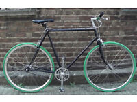 Single speed bike Evans Reynolds 501 frame 23inch built BY US NEW TYRES, DICTA 18T, CHAIN BAR GRIPS