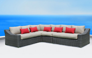 SAVE $1300 - MARSEILLE L-SHAPED WICKER SECTIONAL