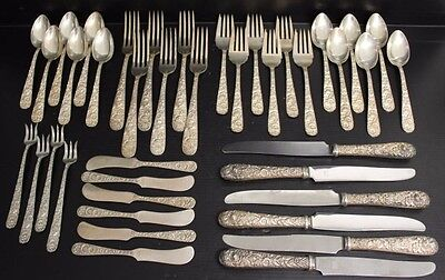 Vintage Stieff Sterling Silver Rose Repousse Service for 6 - 40 Flatware Pieces
