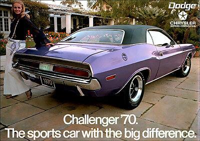 DODGE 70 CHALLENGER MOPAR E BODY MUSCLE RETRO A3 POSTER PRINT FROM ADVERT 1970