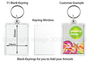 100 BLANK PLASTIC KEYRING 35 x 24 mm INSERT (Clear Acrylic) Individually Bagged