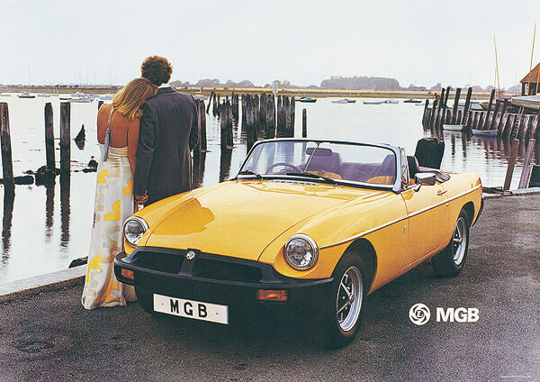 Mg Mgb Roadster Yellow Classic Car Picture Poster Print A1 A3 Ebay
