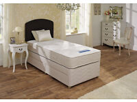 Single Divan bed with orthopedic or memory foam mattress and free headboard