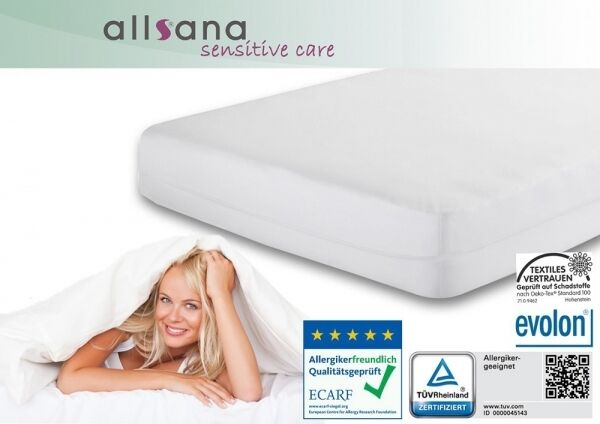 Allsana Allergiker Matratzenbezug 90x200x24cm Encasing Allergie Bettwäsche