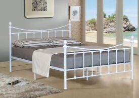 4FT (3/4 DOUBLE)WHITE METAL BED VICTORIAN STYLE - NEVER ASSEMBLED