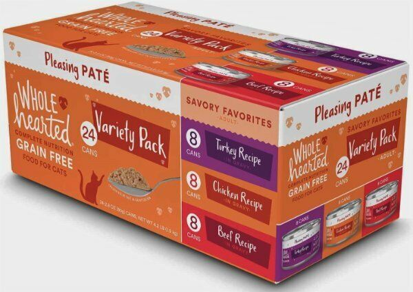 Whole Hearted Canned Cat Food Grain Free Variety Pk 24