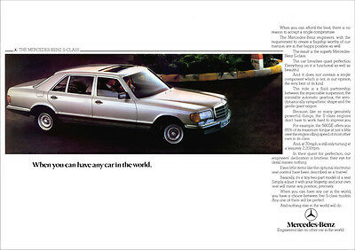MERCEDES S CLASS W126 RETRO A3 POSTER PRINT FROM CLASSIC 80'S ADVERT