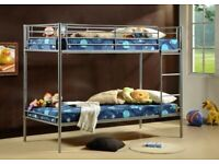 BRANDED FURNITURE -SINGLE METAL BUNK BED FRAME w 2 MEMORY FOAM MATTRESSES.CALL NOW