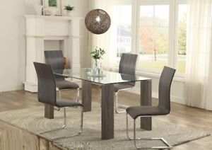 FABULOUS ,WONDERFUL BEAUTIFUL Dining table and grey fabric seats