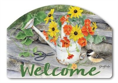 Yard Designs Water Can Flowers Magnetic Yard Art House Garden Sign Plaque - Water Rectangle Magnet