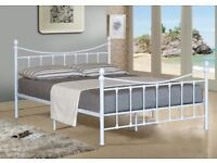 WHITE VICTORIAN STYLE KING SIZE METAL BED FRAME - NEVER BEEN ASSEMBLED