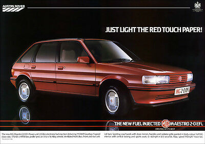 MG MAESTRO 2.0 EFi RETRO POSTER A3 PRINT FROM CLASSIC 80'S ADVERT