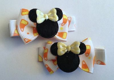 Boutique Baby Girl Hair Clips Bows Minnie Mouse Halloween Candy Corn Bowtique