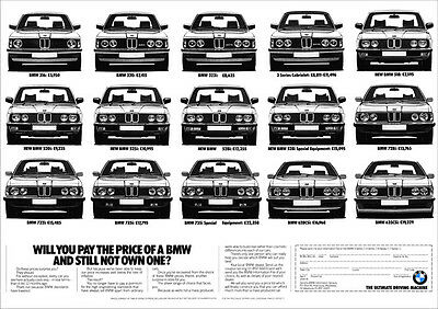 BMW E28 E21 E23 E24 323i 528i 635CSi 735i RETRO A3 POSTER FROM ADVERT 1982