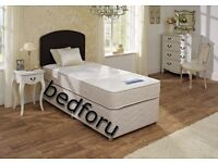 Single divan bed with reversible good quality mattress