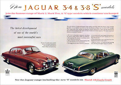 JAGUAR S TYPE 3.4 & 3.8 S RETRO A3 POSTER PRINT FROM CLASSIC 60's ADVERT