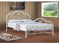 White strong metal abbey 4ft6 double bed IN STOCK NOW