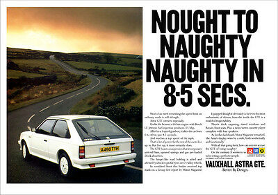 VAUXHALL ASTRA GTE MK1  RETRO A3 POSTER PRINT FROM 80's ADVERT