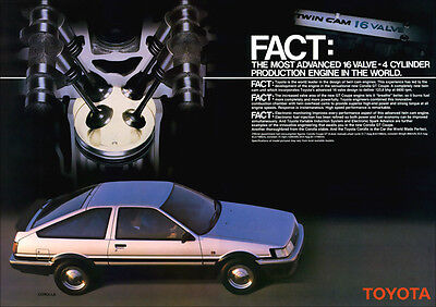 TOYOTA AE86 COROLLA GT COUPE RETRO A3 POSTER PRINT FROM CLASSIC 80's ADVERT