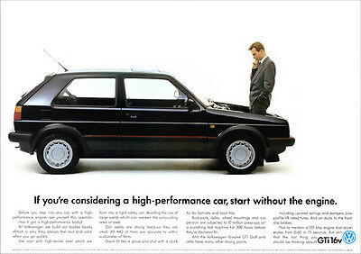 VW GOLF GTi 16v MK2 RETRO POSTER A3 PRINT FROM CLASSIC ADVERT 1988