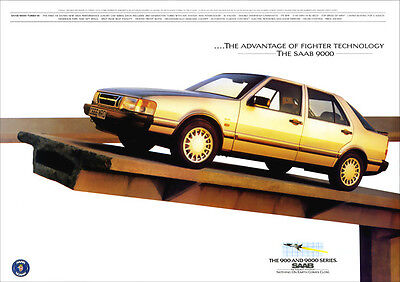 SAAB 9000 TURBO RETRO A3 POSTER PRINT FROM CLASSIC 80'S ADVERT