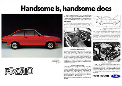 FORD MK2 ESCORT RS2000 RS 2000 RETRO A3 POSTER PRINT FROM 70's ADVERT